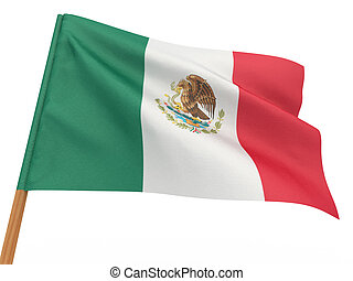 flag fluttering in the wind. Mexico. 3d