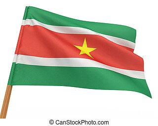 flag fluttering in the wind. Surinam. 3d