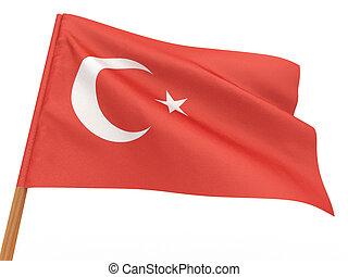 flag fluttering in the wind. Turkey. 3d
