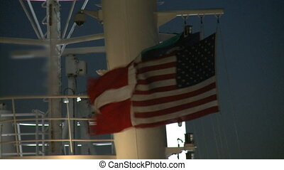 flag fluttering on a boat