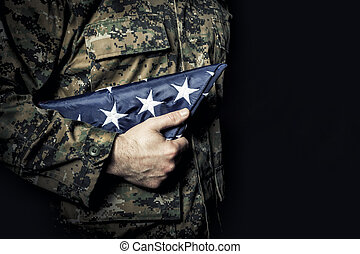 flag fold old glory - american army soldier with flag fold...