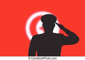 flag., fondo, silhouette, tunisia, offuscamento, saldare