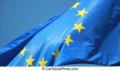 Flag - flag of the European Union is developing the wind...