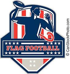 Flag Football QB Player Passing Ball Crest Retro -...