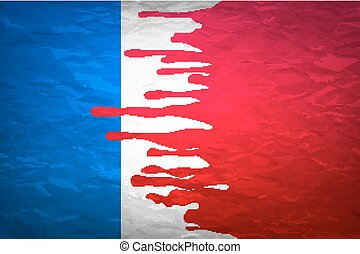 flag France in concept. the blood flowing on the French flag. vector