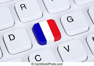 flag frankrig, internet, på, computer klaviatur