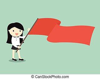 flag., frauenunternehmen, besitz, rotes