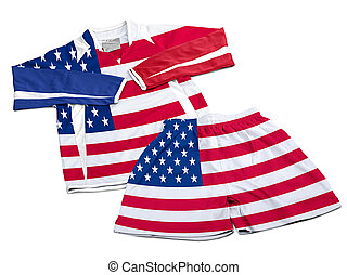 Flag from USA on nylon soccer sportswear clothes - Flag from...