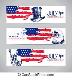 flag., fundos, americano, 4th, bandeiras, julho, independência
