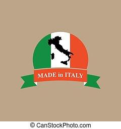flag., gabarit, ruban, étiquette, logo., italie, italien, produit, fait, couleurs, carte, production.