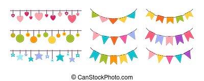 Flag garland bunting heart star birthday vector