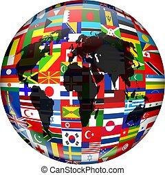 Flag Globe - Colourful globe illustration made up of flags...