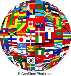 globe planet made up of flags from all over the world