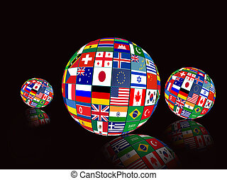 Flag Globes with different country flags