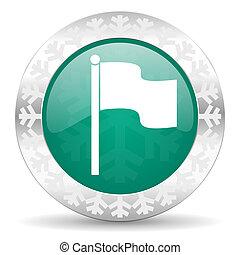 flag green icon, christmas button