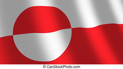 Flag Greenland moving wind - National flag of Greenland with...