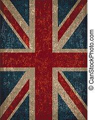 flag., grunge , βρετανία , ενωμένος , σπουδαίος , texture., ...