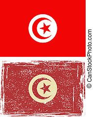 flag., grunge, tunecino, vector