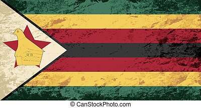 flag., grunge, zimbabwean, fondo.