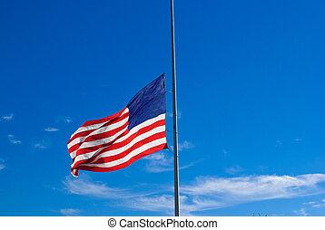 Flag Half Staff - United States flag hung at half staff