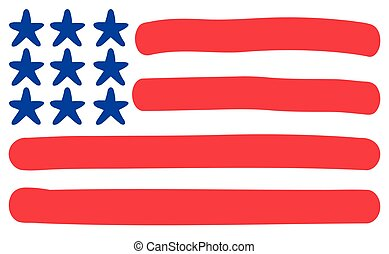 Flag hand drawn United States of America