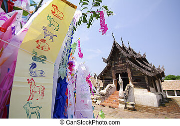 Flag hang Songkran Festival. One of the traditions of...