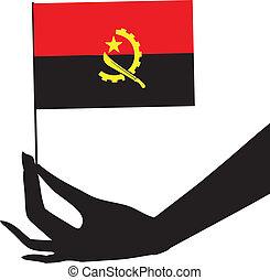 flag, hans, angola, hånd