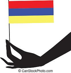 flag, hans, armenien, hånd