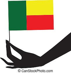 flag, hans, benin, hånd