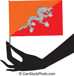 flag, hans, bhutan, hånd