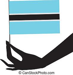 flag, hans, botswana, hånd