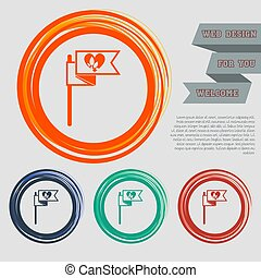 Flag, heart icon on the red, blue, green, orange buttons for your website and design with space text. Vector