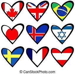 flag, hjerter, 2