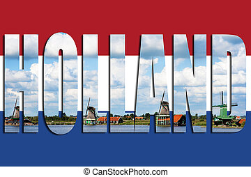 Flag Holland windmills - Flag of Holland with windmills in...