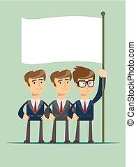 flag., homem, três, negócio, segurando