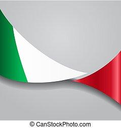 flag., hullámos, vektor, illustration., olasz