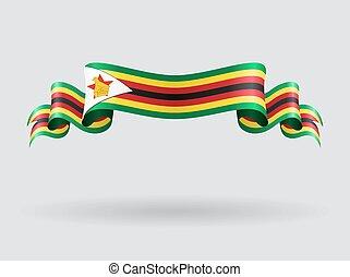 flag., hullámos, vektor, illustration., zimbabwe