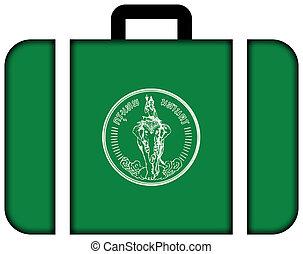 flag, i, bangkok., kuffert, ikon, rejse, og, transport, begreb