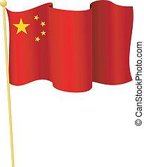 flag, i, china., vektor