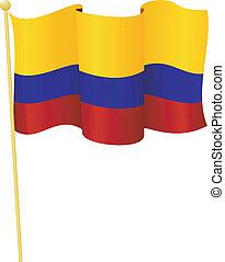 flag, i, colombia., vektor