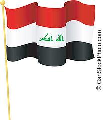 flag, i, iraq., vektor