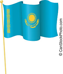 flag, i, kazakhstan., vektor