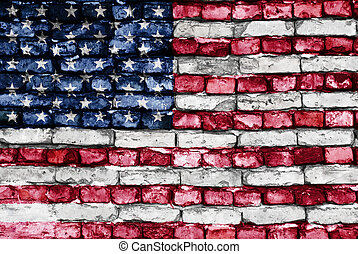 flag, i, united states, mal, på, en, gamle, mursten mur