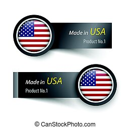 Flag icon and label with text made in The United States of America .