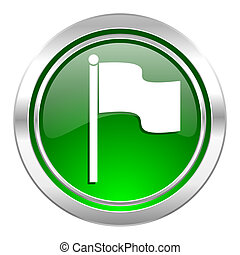 flag icon, green button