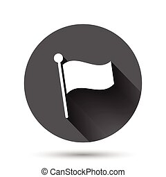 Flag icon in flat style. Pin vector illustration on black round background with long shadow effect. Flagpole circle button business concept.