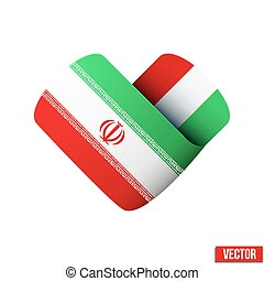Flag icon in the form of heart. I love Iran.
