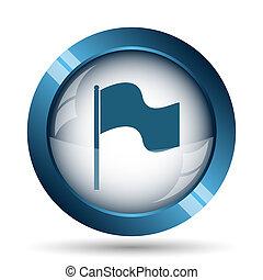 Flag icon. Internet button on white background.