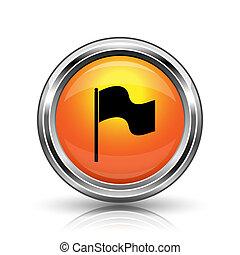 Flag icon - Orange shiny glossy icon on white background