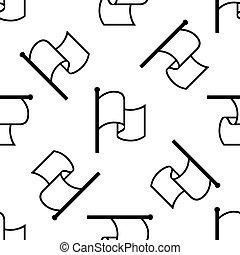 Flag icon seamless pattern on white background. Vector Illustration